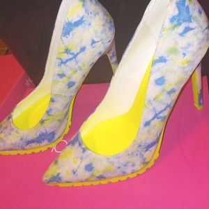 Blue and Neon Green Pumps